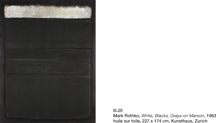 Rothko, White, Blacks, Grays on Maroon