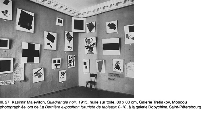 Malevitch, Quadrangle noir, Exposition 0-10, Galerie Dobychina